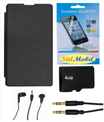 StilMobil Gionee Pioneer P2S Flip Cover,4 GB Micro SD Memory Card,Screen Guard,Ear Phone and AUX Cable Combo Set available at Flipkart for Rs.619