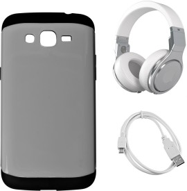 G4U Samsung Galaxy Grand2 7106 (Headphone-Slmarm-Gunmetal4911Silver ) Combo Set