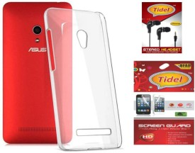 Tidel Silicon Soft Back Cover For Asus Zenfone 5 A501cg With Tidel Screen Guard & 3.5mm Handsfree Earphone Combo Set