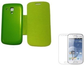 YGS Flip Cover For Samsung Galaxy S Duos S7562-Green Screen Guard Combo Set