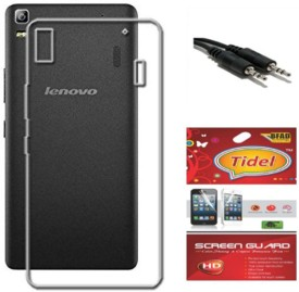 Tidel Silicon Soft Back Cover For Lenovo K3 Note With Screen Guard & Aux Cable Combo Set