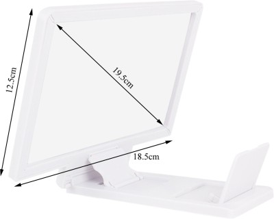 SJ 3D Magnifying Glass Zoom Video Enlarged Screen HD all Mobile Phone Portable Projector (White)