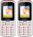 I Kall 1.8 Inch Dual Sim Multimedia Set Of Two (K-55) Mobile With Bluetooth-RED (Red, White)