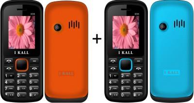 I KALL 1.8 Inch Dual Sim SET OF TWO(K55BLUE+K55WHITE&BLACK) Mobile with Bluetooth (Blue, White&Black)