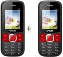 Vox 1.8Inch Triple Sim Multimedia Mobile Set Of Two-V3100 Black (Black, Red)