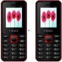 I KALL 1.8 Inch Dual Sim Multimedia Set Of Two Mobile(K-66) With Bluetooth-red (Red, Black)