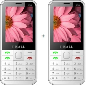 I KALL Dual Sim 2.4 Inch Multimedia Set Of Two Phone (K-33) With Bluetooth-White (White)
