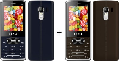I KALL (K36BROWN+K36BLUE) Dual Sim Mobile combo (Brown, Blue)
