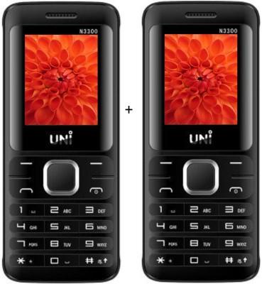 UNI 1.8 inch TRIPLE Sim Multimedia Set of two Mobile (N3300)-Black (Black)