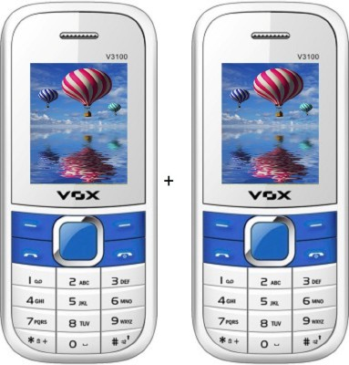 Vox 1.8 Inch Triple sim Multimedia set of two mobile with bluetooth -V3100 white (White)