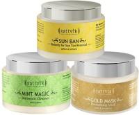 Sattvik Organics SKINTILATING COMBO Plus- (Mint Magic 100gm, Gold Mask 100gm, Sun Ban 100gm) (300 G)