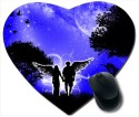 Awwsme Boy And Girl Having Feathers Heart Mousepad (Multicolour)