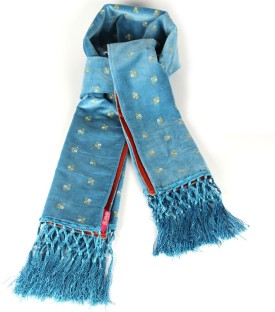 Goguava Light Blue Velvet Embroidered Stole Embroidered Women's Muffler