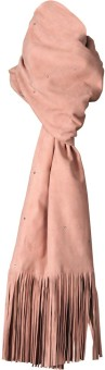 Goguava The Luxury Leather Stole With Fringe Detailing (Pink) Solid Women's Muffler