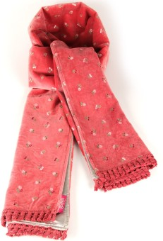 Goguava Baby Pink Velvet Embroidered Stole Embroidered Women's Muffler