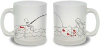 StyBuzz Catching Your Heart Couple Frosted Mug Glass Mug (300 Ml, Pack Of 2)