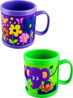 Radius Purple & Green Embossed Cartoon Mugs For Kids (Pack Of Two) Plastic Mug (300 Ml, Pack Of 2)