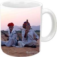 Jiyacreation1 Rajasthani Music Multicolor White Ceramic Mug (3.5 Ml)