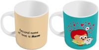 Indiangiftemporium Designer Printed Ceramic Coffee S Pair 430 Ceramic Mug (300 Ml, Pack Of 2)