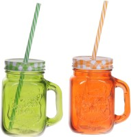 ZIDO Colorful Designer Mason Jar Glass Mug (450 Ml, Pack Of 2)