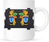 Huppme KRISHNA CERAMIC WHITE MUG Ceramic Mug (350 Ml)