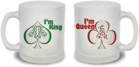 StyBuzz I M King And I M Queen Couple Frosted Mug Glass Mug (300 Ml, Pack Of 2)