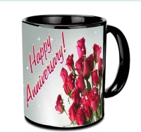 Jiyacreation1 Lovely Roses Happy Anniversary Wishes Multicolor Ceramic Mug (3.5 Ml)