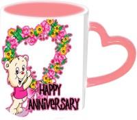Jiyacreation1 Happy Anniversary With Teddy Pink Handle Ceramic Mug (3.5 Ml)