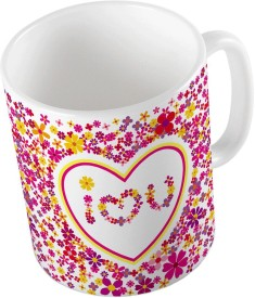 Little India Pink Designer Romantic Print Coffee  685 Ceramic Mug