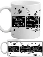 Jiyacreation1 Live Laugh And Love Multicolor White Ceramic Mug (3.5 Ml)
