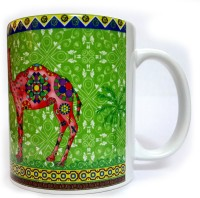 Indiavibes Printed Ceramic Coffee Tea  With Camel 2 Theme Ceramic Mug (0.32 L)