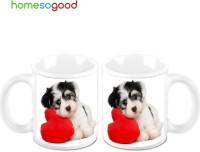 Homesogood A Cute Puppy (Pack Of 2) Ceramic Mug (325 Ml, Pack Of 2)