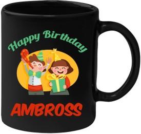 Huppme Happy Birthday Ambross Black  (350 ml) Ceramic Mug