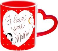 Jiyacreation1 I Love You MOM In Heart Red Heart Handle Ceramic Mug (3.5 Ml)