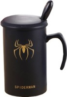 Dragon Spiderman Super Hero Coffee/ Tea / Milk Cup Spoon And Lid Set Ceramic Mug (340 Ml)