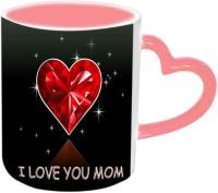 Jiyacreation1 Heart With I Love You MOM Pink Heart Handle Ceramic Mug (3.5 Ml)