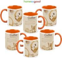HomeSoGood A Coffee Everyday (QTY 6) Ceramic Mug (325 Ml, Pack Of 6)