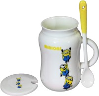 Satyam Kraft Minions  - 3 Minions  With Ceramic Spoon And Lid Ceramic Mug (340 Ml)