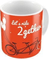 Little India Orange Designer Romantic Printed Coffee S Pair 748 Ceramic Mug (300 Ml, Pack Of 2)