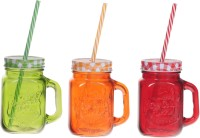 ZIDO Colorful Designer Mason Jar Glass Mug (450 Ml, Pack Of 3)