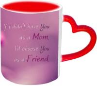 Jiyacreation1 Lovely Lines For Mom Red Heart Handle Ceramic Mug (3.5 Ml)