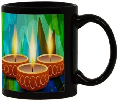 Lolprint 96 Diwali Gift Black Ceramic Mug
