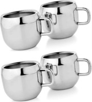 Verow Double Wall Apple Set Of 4 Stainless Steel Mug (150 Ml, Pack Of 4)
