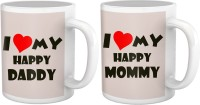 Tiedribbons I Love My Happy Mom And Dad Gift For Parents Set Of 2 Ceramic Mug (325 Ml, Pack Of 2)