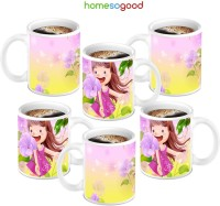HomeSoGood Little Angel Coffee Ceramic Mug (280 Ml, Pack Of 6)