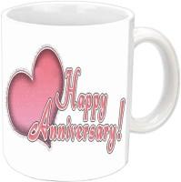 Jiyacreation1 Happy Anniversary Wishes With Hearts Design White Ceramic Mug (350 Ml)