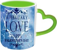 Jiya Creation1 For Love Valentine Green Handle Ceramic Mug (350 Ml)