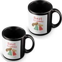 Posterchacha Best Friends Girls Black Tea And Coffee Gift For Best Friend And Loved One Ceramic Mug (350 Ml, Pack Of 2)
