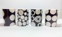 Dayinternational Polka Dotted Ceramic Mug (250 Ml, Pack Of 4)