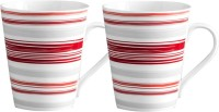 Clay Craft India Red Striped Print Bone China Mug (370 Ml, Pack Of 2)